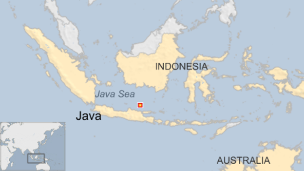 Location of the Battle of the Java Sea February 27, 1942
